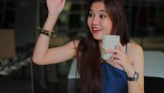 Portrait of thai adult beautiful girl relax smile and beckon. Stock Footage