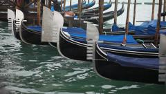 Gondolas on the water in Venice Stock Footage