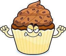 Stock Illustration of Angry Cartoon Chocolate Cupcake