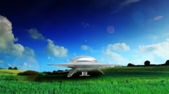 Flying Saucer UFO Lift off and fly away Stock Footage