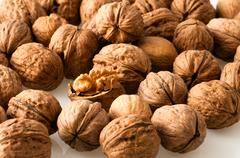 Walnuts in the foreground for diet Stock Photos