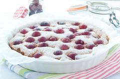 Fresh cake with red grape season and icing sugar - stock photo