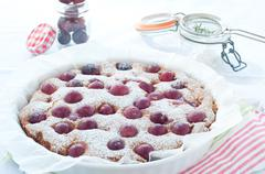 Fresh cake with red grape season and icing sugar Stock Photos