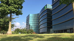 Green area with commercial buildings in Hertzelia Stock Footage