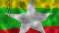 Waving Flag Myanmar Stock Footage