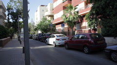 Renovated building in quiet street in white city Tel-Aviv Stock Footage