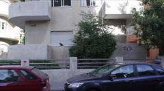 Bauhaus building in white city Tel-Aviv Stock Footage