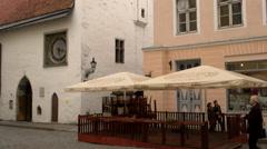 St Olaf's church belltower in Tallinn tilt up - stock footage
