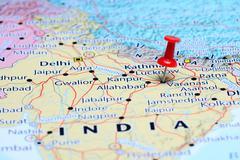Varanasi pinned on a map of Asia Stock Photos