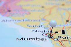 Mumbai pinned on a map of Asia - stock photo