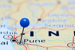 Pune pinned on a map of Asia - stock photo
