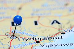 Hyderabad pinned on a map of Asia Stock Photos