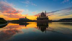 Timelapse Of Fiery Sunrise At Putra Lake with zoom effect Stock Footage