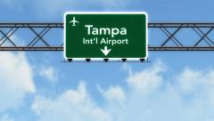 4K Passing Tampa Airport Sign with Matte 2 stylized Stock Footage
