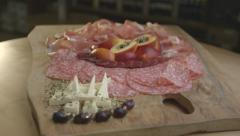 Ham Slices On Plate - Slide (Canon Log) Stock Footage
