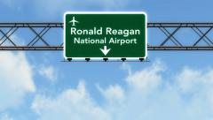 4K Passing Washington DC Reagan Airport Sign with Matte 2 stylized Stock Footage