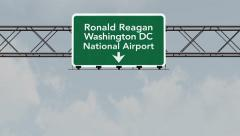 4K Passing Washington DC Reagan Airport Sign with Matte 3 neutral Stock Footage