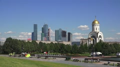The Church of St. George the Victorious (in 4k), Park Pobedy, Moscow, Russia. Stock Footage
