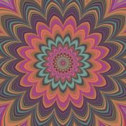 Fullscreen generated symmetrical psychadelic flower - stock illustration