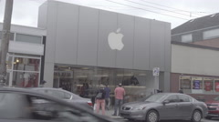 Shadyside Pittsburgh Apple Store Establishing Shot Flat S-Log2 Stock Footage