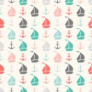 Seamless  pattern of anchor and sailboat shape - stock illustration