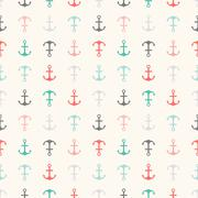 Seamless  pattern of anchor shapes. Endless texture Stock Illustration
