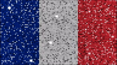 Flag of France glitter background - looping with reflectors and sparkles - stock footage