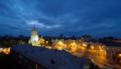 Aerial view of Saint Sophia Cathedral square in Kyiv, Ukraine, 4K timelaps Stock Footage