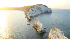 Aerial Drone Isle of Wight Needles England travel sunrise - stock footage