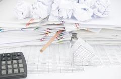 Bankruptcy of house have bottom of pencil with paper ball - stock photo