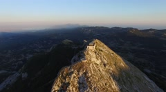 The mausoleum of Njegos located on the top of the Lovcen Mountain, Montenegro Stock Footage