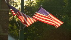 Two American Flags in the Sun Stock Footage