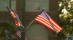 Four American Flags at Sunset Stock Footage
