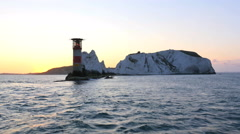 Aerial Drone Needles UK Lighthouse Helipad sea sunrise Stock Footage