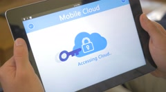 4K Access Denied To Mobile Cloud on Tablet app - stock footage
