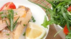 Sea food : roasted pink salmon fillet Stock Footage