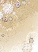 Seashells on the sand Stock Illustration