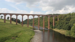 Leaderfoot viaduct across River Tweed Scotland Stock Footage