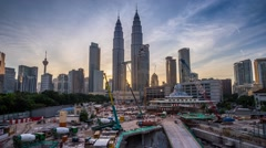 New Development Project With Petronas Twin Towers View During Sunset. Stock Footage