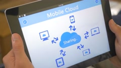 Stock Video Footage of 4K Mobile Cloud Sharing Devices Tablet App