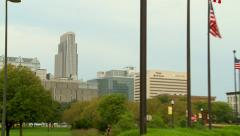 Flags in Omaha Zoom Out Stock Footage