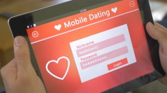 4K Online Dating App On Tablet Login In Account - stock footage