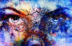 Blue goddess women eye, multicolor background with oriental mandala ornament - stock illustration