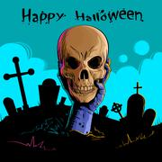 Zombie Hand Hold Dead Skull Head Undead Arm From Ground Graveyard Stock Illustration