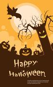Halloween Pumpkin Scary Tree Smile Evil Face Party Invitation Card - stock illustration