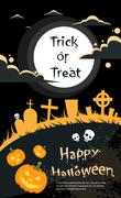 Halloween Banner Cemetery Graveyard Party Invitation Card Pumpkin Face - stock illustration