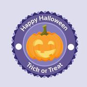 Halloween Pumpkin Badge Banner Scary Smile Face Orange Flat Logo - stock illustration