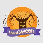 Halloween Tree Badge Banner Scary Smile Face Eyes - stock illustration