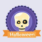 Halloween Skull Human Head Badge Banner Scary Face - stock illustration