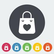 Bag store single icon - stock illustration